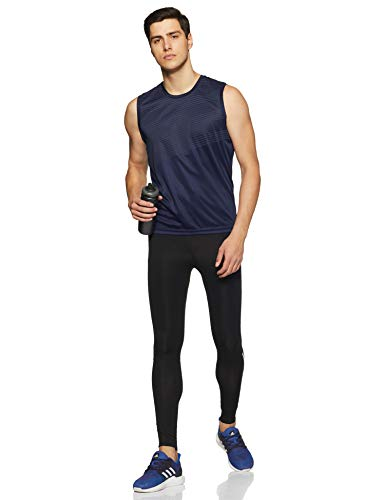 adidas Herren Run 3-Streifen Long Tights, Black/White, L - 3