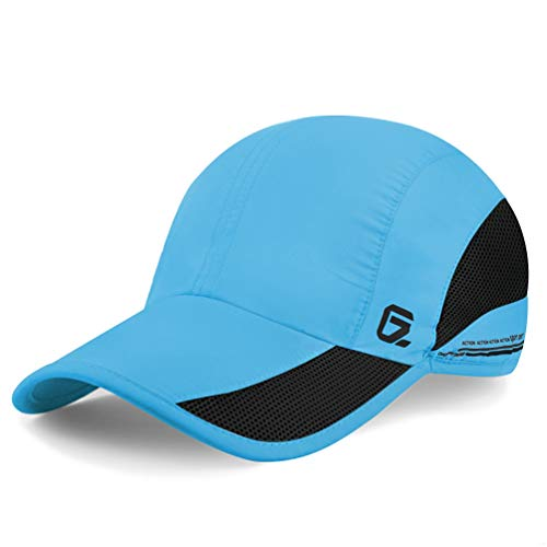 GADIEMKENSD Quick Dry Sports Hat Lightweight Breathable Soft Outdoor Running Cap Baseball Caps for Men (Sky Blue)