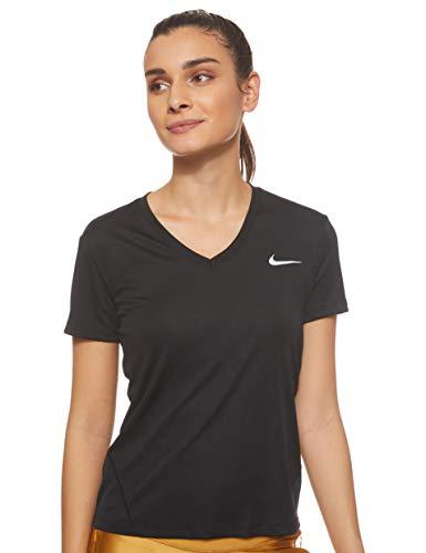 Nike Damen Miler Top Vneck, Black/Reflective Silver, M