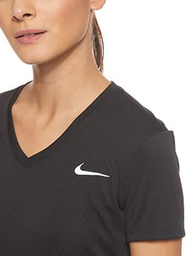 Nike Damen Miler Top Vneck, Black/Reflective Silver, M - 4